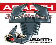 21542 ADESIVO ABARTH 3D STICKERS SCORPIONE ARGENTO BORDO NERO 65MM