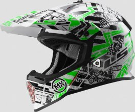 404372160/XS ESA CASCO LS2 FAST MX437 GLITCH WHITE-BLACK GREEN TAGLIA XS