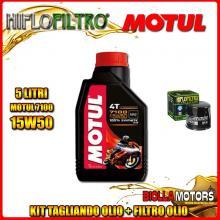 KIT TAGLIANDO 5LT OLIO MOTUL 7100 15W50 TRIUMPH 955 Tiger 955CC 2001-2004 + FILTRO OLIO HF191
