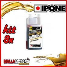 KIT 8X LITRO OLIO IPONE 2T 100% SINTETICO SAMOURAI ( 1 LITRO) - 409720975