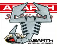 21543 ADESIVO ABARTH 3D STICKERS SCORPIONE ARGENTO SATINATO BORDO NERO 65MM