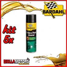 KIT 5X 500ML BARDAHL BRAKE CLEANER PULITORE FRENI 500 ML - 5x 606031