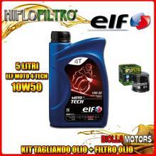 KIT TAGLIANDO 5LT OLIO ELF MOTO TECH 10W50 TRIUMPH 955 Tiger 955CC 2001-2004 + FILTRO OLIO HF191