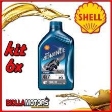 KIT 6X LITRO OLIO SHELL ADVANCE 4T AX7 10W40 1L SEMISINTETICO - 6x 550027090