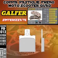 FD012G1371 PASTIGLIE FRENO GALFER SINTERIZZATE ANTERIORI ACCOSSATO CE 50 87-