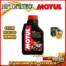 KIT TAGLIANDO 4LT OLIO MOTUL 7100 10W60 KTM 660 Rally E Factory Replica 2nd Oil 660CC 2006-2007 + FILTRO OLIO HF157