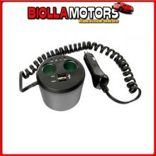 39040 LAMPA POWER CUP 3 IN 1, PRESA CORRENTE MULTIPLA E TESTER BATTERIA AUTO 12V+USB