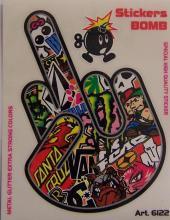 6122 ADESIVO STICKERS BOMB MANO FUCK