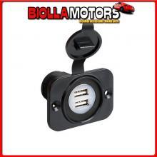 39005 LAMPA EXT-8, DOPPIA PRESA USB, MONTAGGIO AD INCASSO, 12/24V