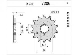 367206014 PIGNONE OGNIBENE 14 DENTI 420 DERBI SENDA 50 SM DRD RACING 2004-2005