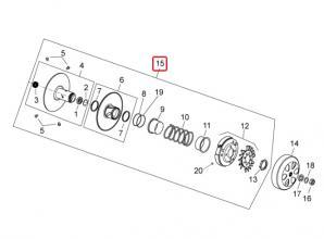 CM311801 PULEGGIA CONDOTTA COMPLETA DI FRIZIONE VESPA SUPER GTS 300 4T 4V IE NOABS E3 2009-2013 (NAFTA)