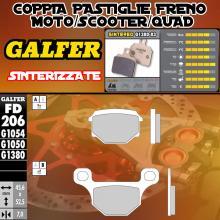 FD206G1380 PASTIGLIE FRENO GALFER SINTERIZZATE ANTERIORI MBK MOTOBEKANE STUNT 00-