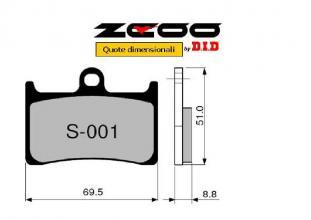 45S00100 PASTIGLIE FRENO ZCOO (S001 EX) SUZUKI GSX-R 400 1991-1995 (ANTERIORE)