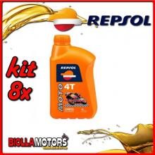 KIT 8X LITRO OLIO REPSOL MOTO RACING 4T 10W50 1LT - 8x RP160P51IT