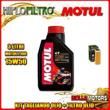 KIT TAGLIANDO 3LT OLIO MOTUL 7100 15W50 KTM 400 EXC 400CC 2008-2011 + FILTRO OLIO HF652