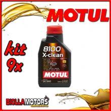 KIT 9X LITRO OLIO MOTUL 8100 X-CLEAN 5W40 100% SINTETICO PER MOTORI 4T - 9x 109761