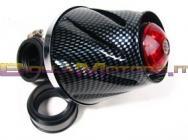 STR-332.03/CA FILTRO HELIX CARBON SCURO LED ROSSI ATTACCO 35-38 DRITTO +CURVA90