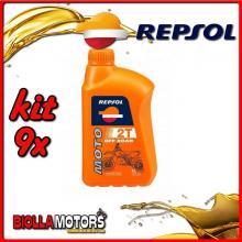 KIT 9X LITRO OLIO REPSOL MOTO OFF ROAD 2T 1LT - 9x RP147Z51IT