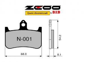 45N00101 PASTIGLIE FRENO ZCOO (N001 EX C) HONDA NSR 250 R - SP 1988-1993 (ANTERIORE)
