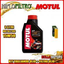 KIT TAGLIANDO 3LT OLIO MOTUL 7100 15W50 KTM 450 Rally Factory Replica 450CC 2011-2016 + FILTRO OLIO HF650