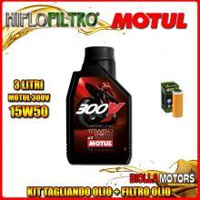 KIT TAGLIANDO 3LT OLIO MOTUL 300V 15W50 KTM 400 EXC 400CC 2008-2011 + FILTRO OLIO HF652