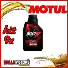 KIT 9X LITRO OLIO MOTUL 300V FACTORY LINE ROAD RACING 15W50 100% SINTETICO PER MOTORI 4T - 9x 104125
