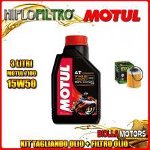 KIT TAGLIANDO 3LT OLIO MOTUL 7100 15W50 KTM 400 EXC 2nd Oil 400CC 2006-2007 + FILTRO OLIO HF157