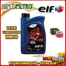 KIT TAGLIANDO 5LT OLIO ELF MOTO TECH 10W50 HONDA TRX650 FA Fourtrax Rincon 650CC 2003-2005 + FILTRO OLIO HF111