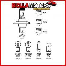 58152 LAMPA KIT LAMPADE DI RICAMBIO 8 PZ, ALOGENA H4 - 12V