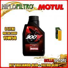 KIT TAGLIANDO 3LT OLIO MOTUL 300V 15W50 KTM 450 Rally Factory Replica 450CC 2011-2016 + FILTRO OLIO HF650