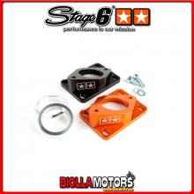 S6-3318813/BK Collettore Aspirazione Stage6 R/T High Flow 34mm venturise Derbi / AM6 nero (EBS050) STAGE6 RT