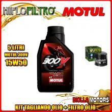 KIT TAGLIANDO 5LT OLIO MOTUL 300V 15W50 TRIUMPH 955 Tiger 955CC 2001-2004 + FILTRO OLIO HF191