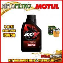 KIT TAGLIANDO 3LT OLIO MOTUL 300V 15W50 KTM 400 EXC 2nd Oil 400CC 2006-2007 + FILTRO OLIO HF157