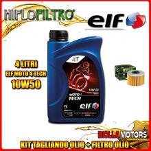KIT TAGLIANDO 4LT OLIO ELF MOTO TECH 10W50 HONDA SXS1000 Pioneer 1000 M3 1st Oil Filter 1000CC 2016- + FILTRO OLIO HF114