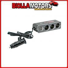 39048 LAMPA DUAL-POWER, PRESA CORRENTE TRIPLA CON USB, 12/24V