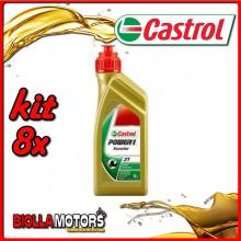 KIT 8X LITRO OLIO CASTROL POWER 1 SCOOTER 2T - 8x CA14E960