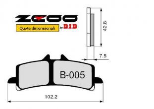 45B00500 PASTIGLIE FRENO ZCOO (B005 EX) BIMOTA DB8 1198 2010- (ANTERIORE)