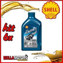 KIT 6X LITRO OLIO SHELL ADVANCE 4T AX7 15W50 1LT - 6x 550027108