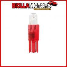 58410 PILOT 12V MICRO LAMPADA ZOCCOLO PLASTICA 1 LED - (T5) - W2X4,6D - 2 PZ - SCATOLA - ROSSO