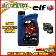 KIT TAGLIANDO 5LT OLIO ELF MOTO TECH 10W50 HONDA CBR1000 F Hurricane 1000CC 1987-1995 + FILTRO OLIO HF303