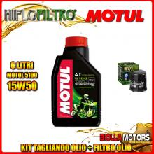 KIT TAGLIANDO 6LT OLIO MOTUL 5100 15W50 KAWASAKI VN2000 A7F Vulcan 2000CC 2007- + FILTRO OLIO HF303